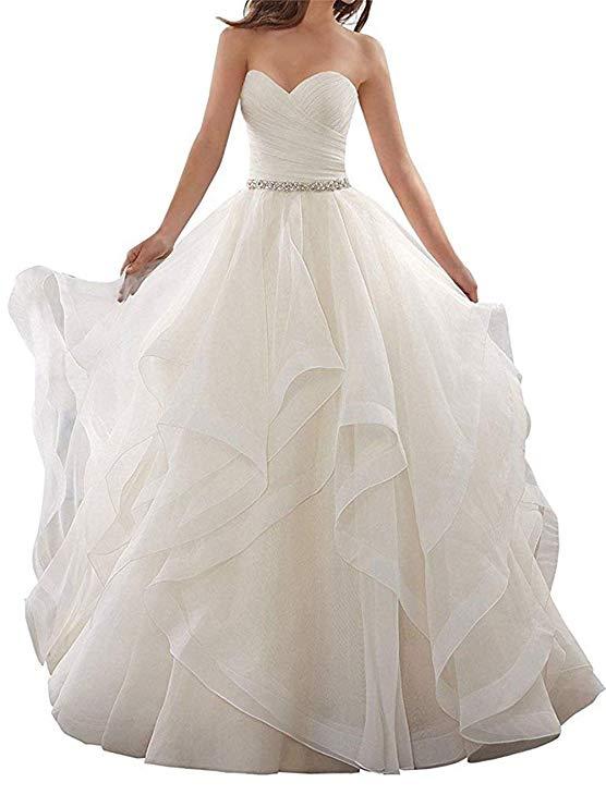2019 Organza Lining Sweetheart Prom Gown Button-Back Layer Court Train Wedding Dress Vestido De Novia