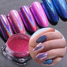Holographic Nail Powder Chrome Pigment Shining Glitter Nail Art Design Polish Mirror Neon Flake Nail Decoration Manicure SA966