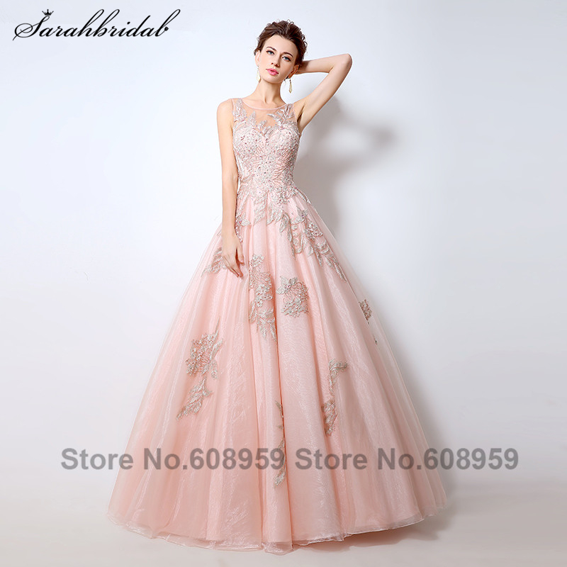 Sexy Blush Sheer Ball Gown   Evening     Dresses   Crystal Embroidery Long Prom   Dress   Floor Length Rode De Soiree Vestidos LSX056