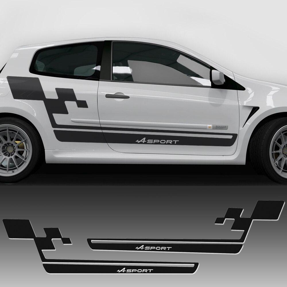 Автомобильный Стайлинг, боковая полоска, гоночная юбка, наклейка для автомобиля, спортивный флаг Renault для Renault Clio Cup R.S. Аксессуары Megane Logan