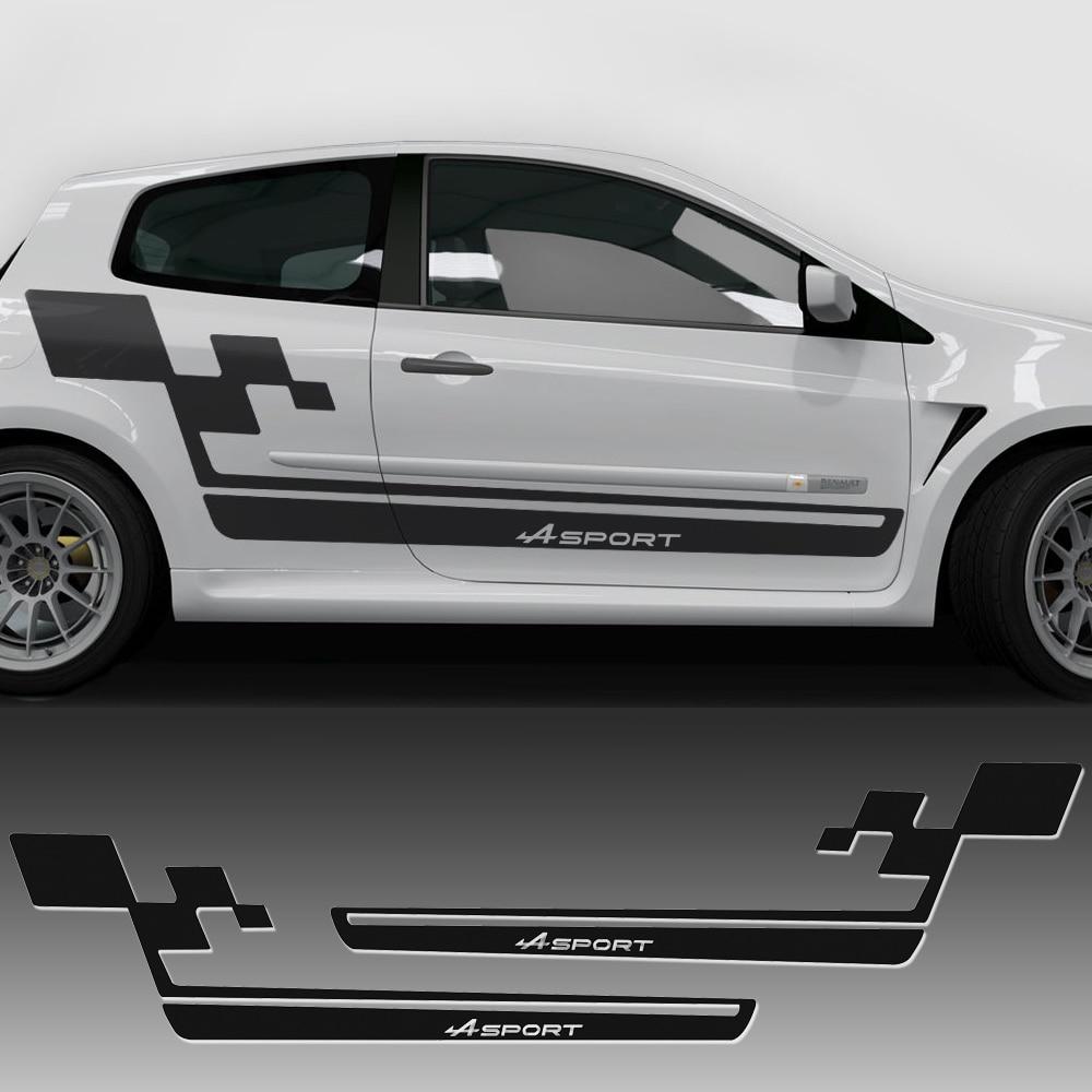 Car Styling Side Bande Racing Jupe Decal Autocollant De Voiture Renault Sport Drapeau pour Renault Clio Cup RS. Megane Logan Accessoires