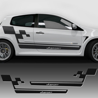 2 Pcs Car Styling Side Stripe Racing Skirt Decal Car Sticker Renault Sport Flag Style For