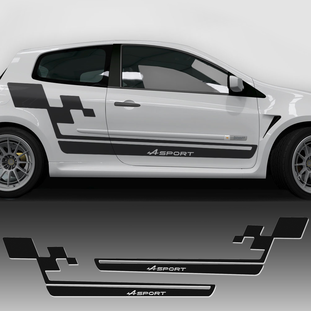 2 pcs Car Styling Side Stripe Racing Skirt Decal Car Sticker Renault Sport Flag Style for Renault Clio R.S. Megane Accessories renault clio iii в москве