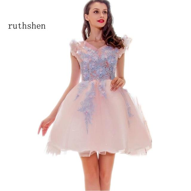 Ruthshen Kurze Rosa Ballkleider 2018 V ausschnitt Light Blue ...