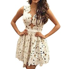 Women summer dress 2016 vestidos new sexy hollowed lace skater dress sexy outfit for woman party beach dress vestidos