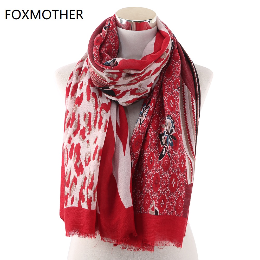 FOXMOTHER New Fashion Leopard Snake Floral Patchwork Print Scarfs Foulard Bufandas Pashmina   Scarves     Wrap   Ladies