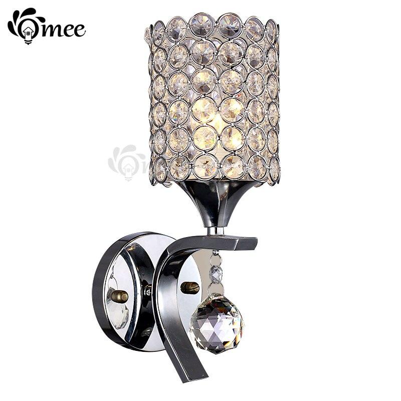 LED crystal wall lamp bedroom lamp Crystal/Cloth art lampshade E14 Ball Bulbs Клейкая лента