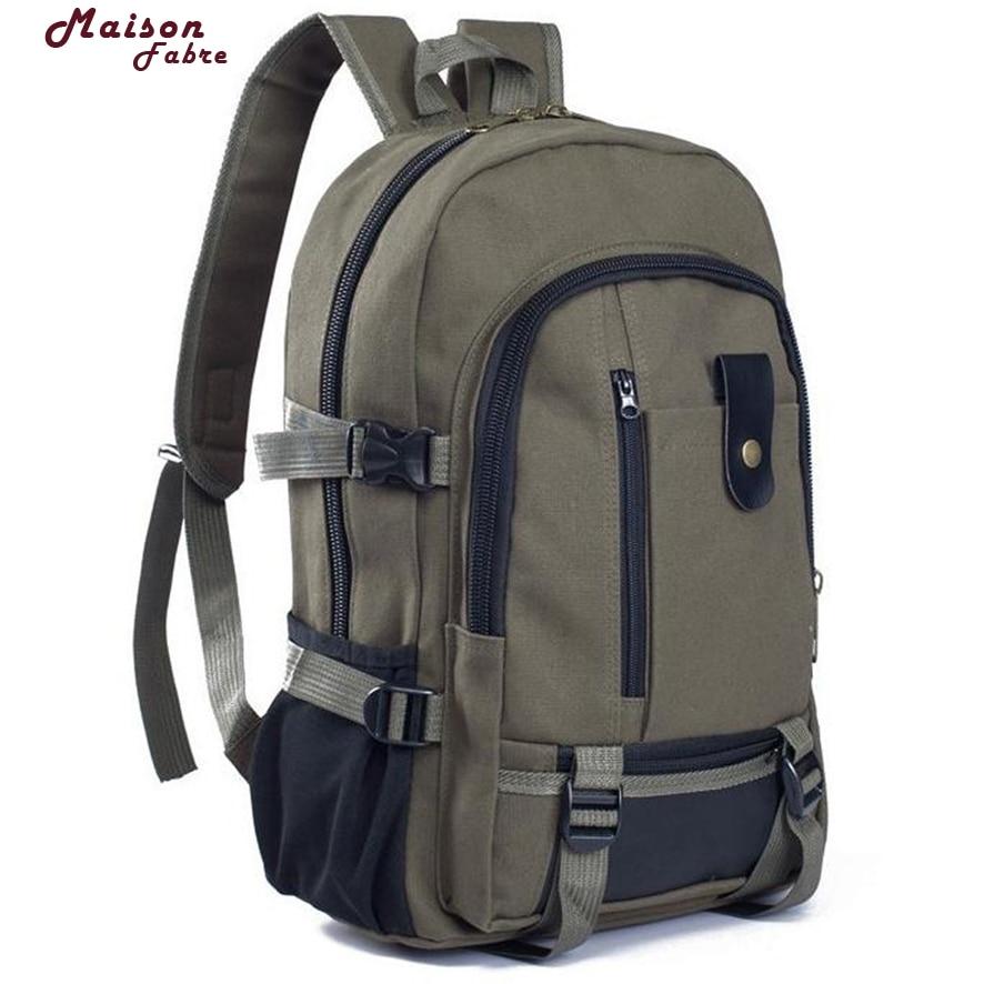 2017  Vintage Travel Canvas Leather Backpack  Rucksack Satchel School Bag 717# 30 casual canvas satchel men sling bag