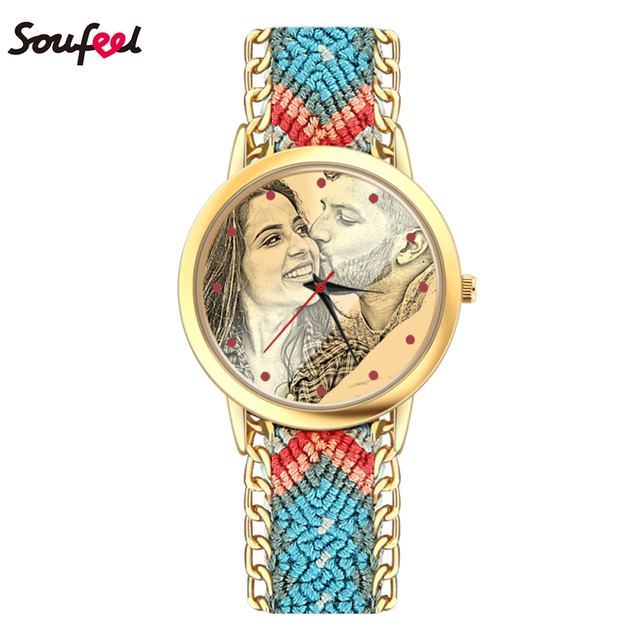 SOUFEEL Custom Photo Watch for Women Engraving Effect Blue Color Nylon Watches C