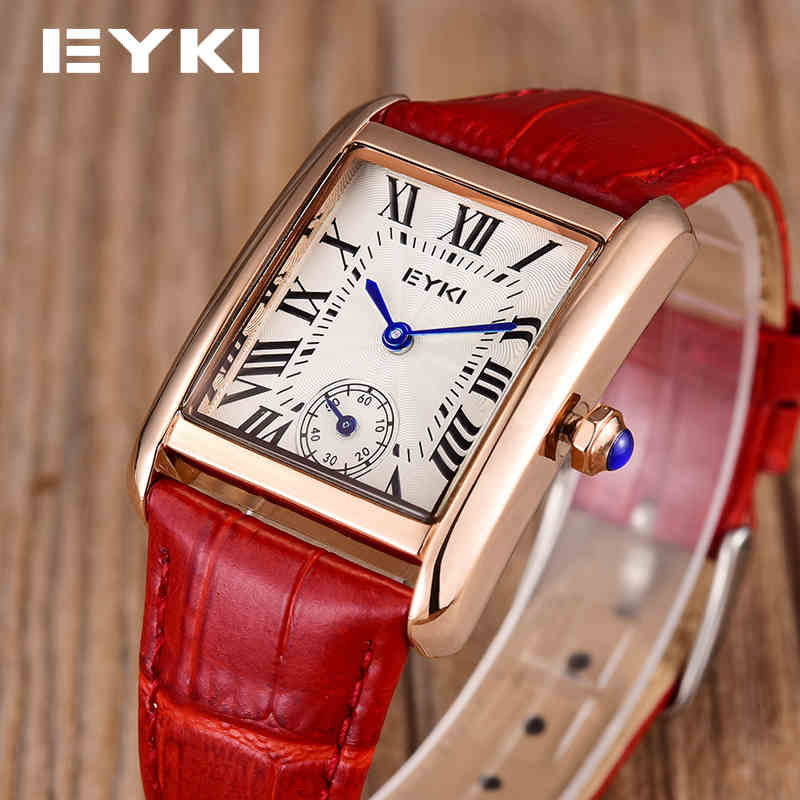 EYKI Girls Vintage Wristwatch Leather Trap Casual Fashion Women Watches Retro Rhinestone Roman Dial Quartz Feminino Watch sinobi fashion vintage style women casual watch dress rhinestone leather strap watches lady wristwatch clock with roman numerals