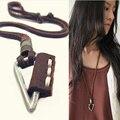 Moda Colar Triângulo couro genuíno colares & pingentes para homens e mulheres de jóias colar gargantilha