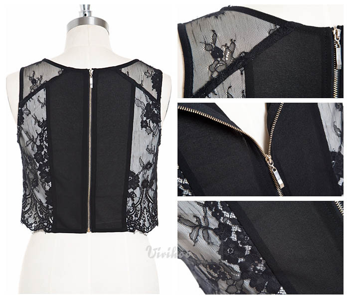 7337f872e67963 New Women Fashion Design Sweet O Neck Print Embroidery Back Zipper  Sleeveless Short Black Lace Blouse Shirt Tops FreeShipping!-in Blouses &  Shirts from ...