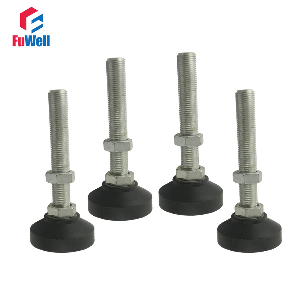 4pcs M8/M10/M12 Thread Adjustable Foot Cups Reinforced Nylon Base 40/50mm Diameter Articulated Feet 60/80/100mm Leveling Foot