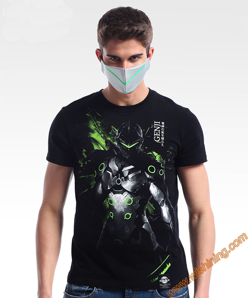 Darkness OW Genji T-shirt Short Sleeve Black Mens Tshirt Mens Boys Plus Size 3XL 4XL OW Genji Tee