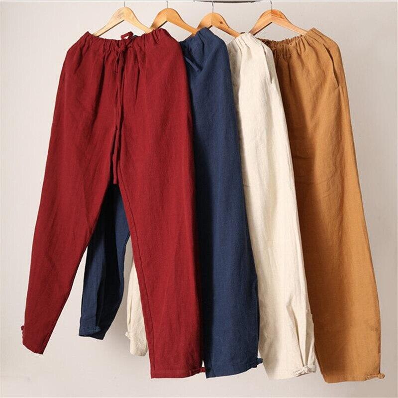 2020  New Style Men Casual Pants Legs Buckle Design  Plus Size Cotton Linen Trousers,big  Size Summer Pants, M-5XL 6XL