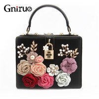 Fashion Diamond Rose Flower Women Shoulder Crossbody Bags Serpentine Pattern Box Shape Clutch Evening Bags Handbags Purses