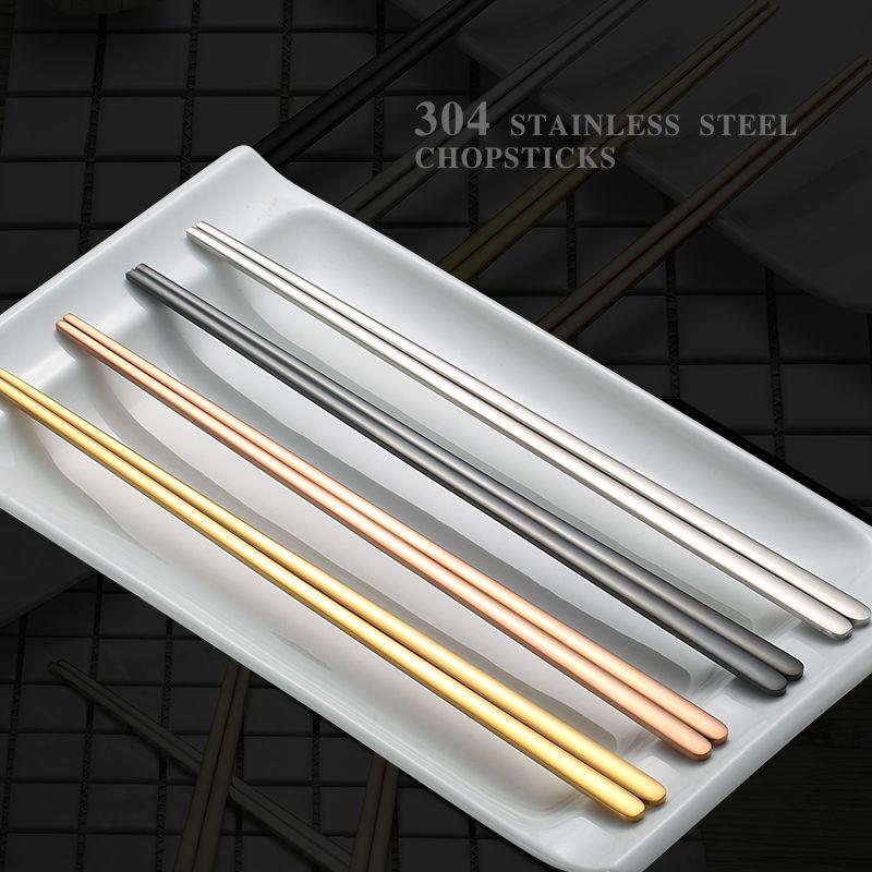 6 أزواج التيتانيوم الصينية عيدان الفضة الحشي الأسود 304 الفولاذ المقاوم للصدأ السوشي مرآة البولندية قابلة لإعادة الاستخدام الغذاء المعادن العصي ختم