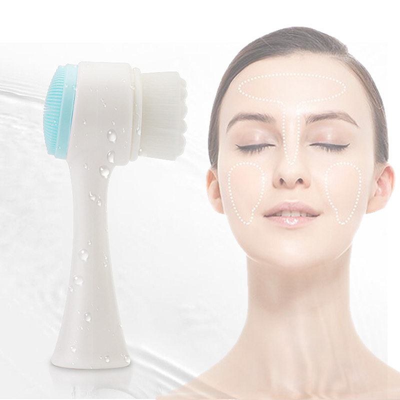 Double-side Silicone Facial Cleanser Portable 3D Face Cleansing Brush Face Cleaning Massaging Washing Product Skin Care Tool
