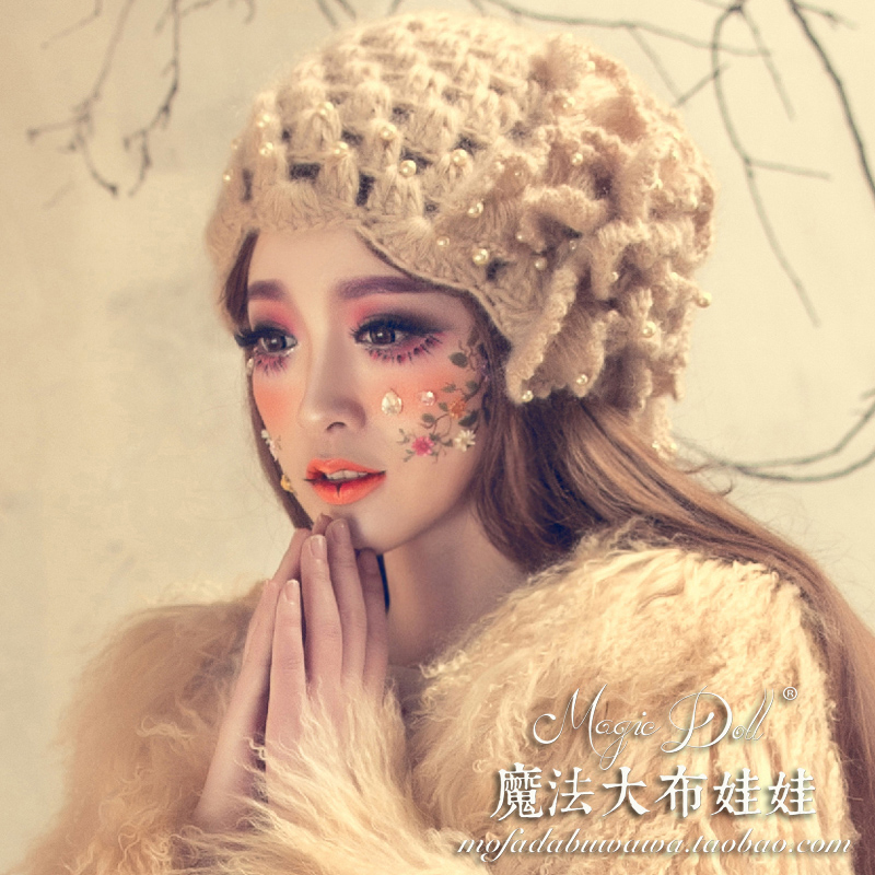 Unique Design Women Fashion Flowers Pearl Berea Knitting Wool Hat Female Sweet Mohair Skullies and Beanies