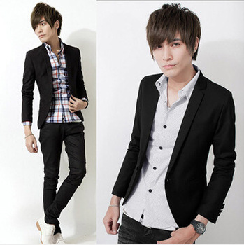 Dropshipping Pure color cotton Suit long sleeves fashion blazer young slim fit big size Jacket Men's top coat Work Wedding Wear