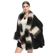 European Fashion Fake Fox Fur Collar Cardigan Poncho Women Knitting Sweater Coat Winter Cashmere Ponchos and Capes Cloak MY538(China)