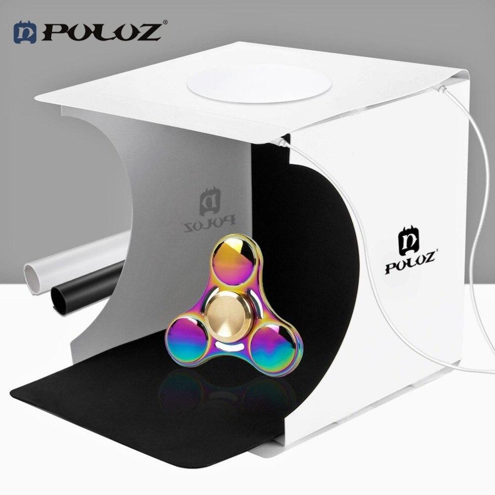 PULUZ 20*20cm 8 Foldable Mini Photography Studio Box for DSLR Camera Mobile Phone Portable 2pcs LED Light 2 Background Lightbox