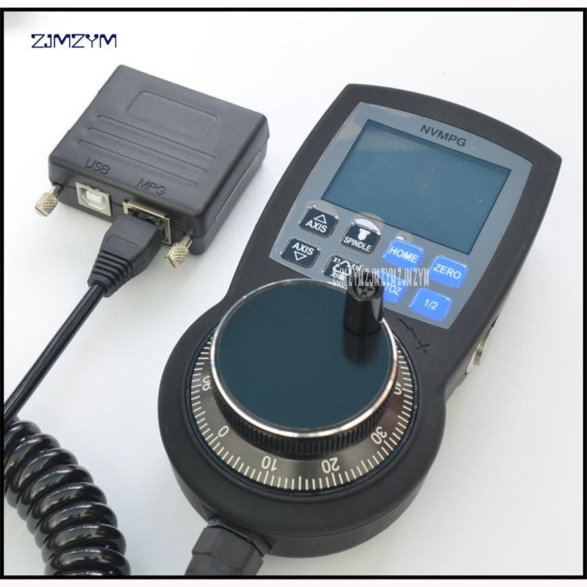 CNC Handwheel Mach3 MPG Pendant Manual Pulse Generator hand wheel Full-featured serial communication with coordinate display handy pulser mpg handwheel 4 axis 100ppr 5v 15v manual pulse generator use for fanuc fagor cnc system with cable