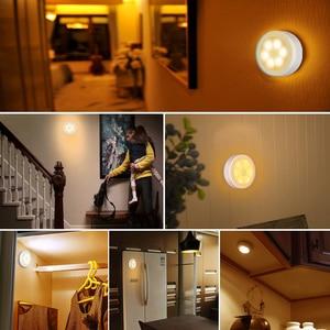 Image 2 - Настенный светильник с пассивным инфракрасным датчиком движения, 6 светодиодов, питание от батарейки, Индукционная лампа для чулана, коридора, Кабинета светодиодный сенсорный светодиодный светильник