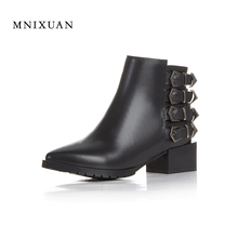 Women genuine leather boots 2017 winter new arrival ladies shoes ankle boot black short belt buckle motorcycle boots large size
