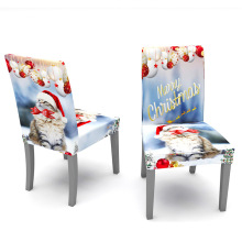 Christmas Cat Pattern Spandex Chair Covers For Event Party Home Dining Decor Elastic Chair Cover Quality