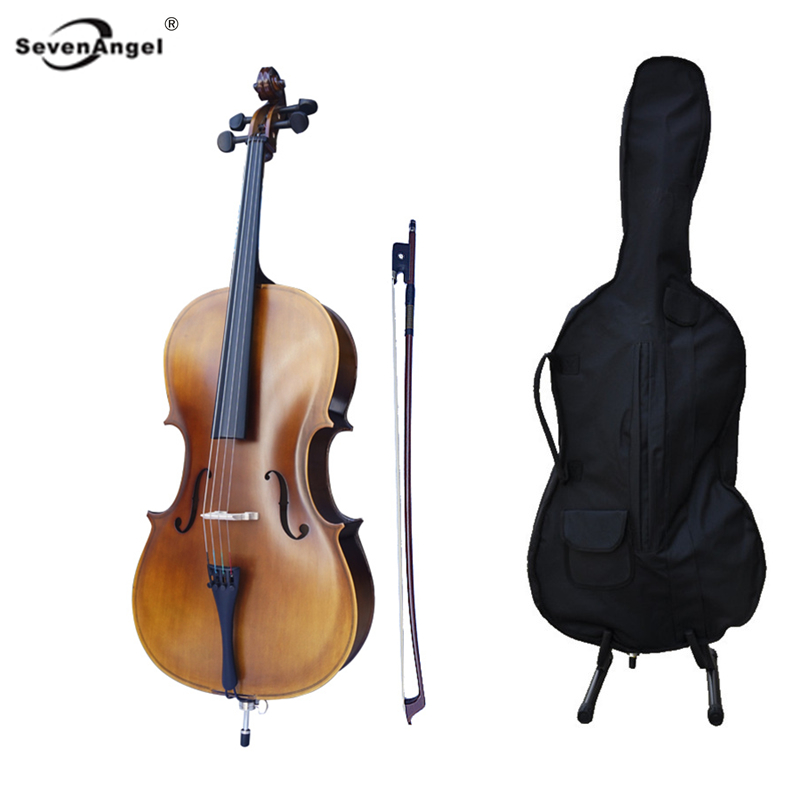 SevenAngel Matt Plywood Cello Full Size 4/4 4/3 1/2 1/4 Violoncelo High Quality Antique Style Beginner Cello with case strings 4 4 cello case full size cello accessories composite material high strong light &strong two wheels more color