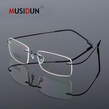 цена на Optical Glasses Frame Man woman Titanium Alloy Rimless Eyeglasses Frame Flexible Myopia Prescription Spectacle Frameless Q861