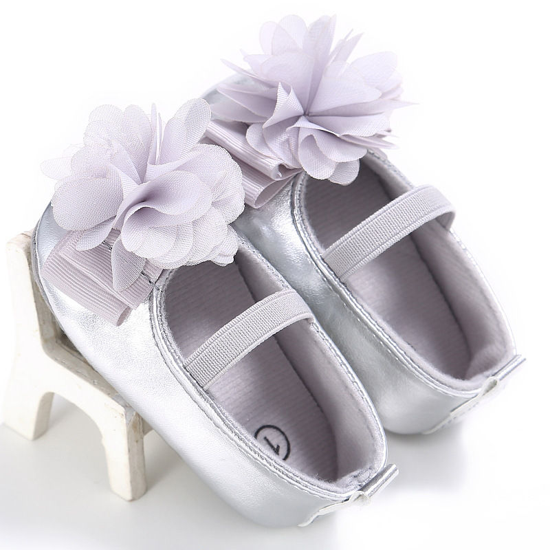 New-PU-Leather-Golden-Silver-Pink-Newborn-Baby-Kid-Prewalkers-Shoes-Princess-Girl-Mary-Jane-Big-Flower-Soft-Soled-Anti-slip-Shoe-5