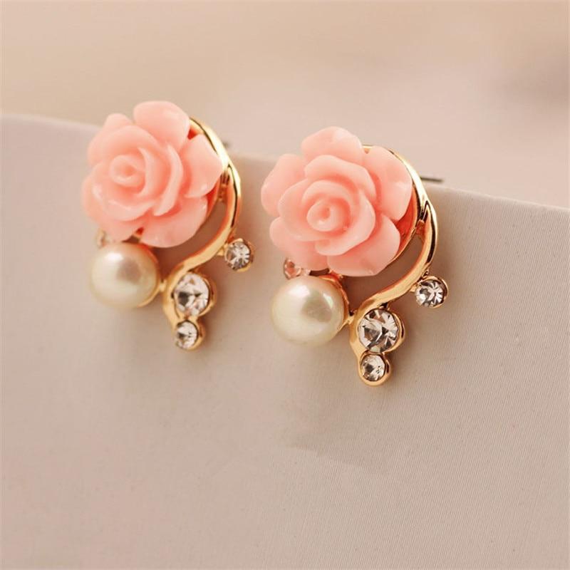 Fashion Jewelry 2015 New Earings For Women Korean Style OL Pink Rose  Crystal Pearl Double Side Stud Earings 163