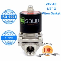U S Solid 1 2 Stainless Steel Electric Solenoid Valve 24V AC G Thread Normally Closed