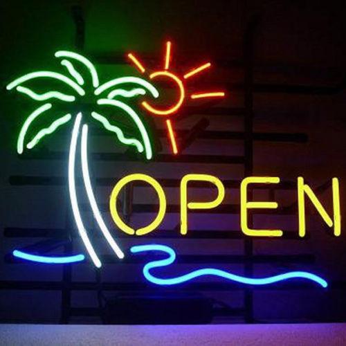 Palm Tree Sun Open Glass Neon Light Sign Beer BarPalm Tree Sun Open Glass Neon Light Sign Beer Bar