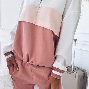 Image 3 - 2020 dres damski zestaw dwuczęściowy stroje dla kobiet Slim kolor kurtka z przeszyciami casualowa kurtka i spodnie garniturowe na co dzień
