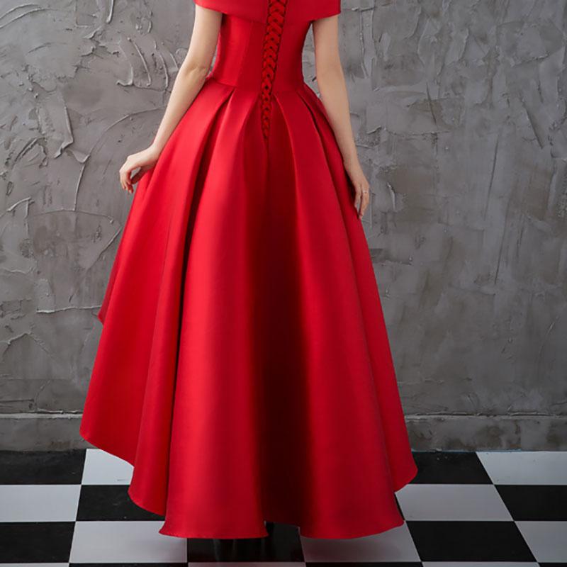Asymétrique Robe De Soirée robes De grande taille 2018 Luxe Bal Robe Formelle À Manches Courtes Robe De Soirée Formelle Robe De Soirée - 6