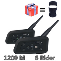 2PCS V6 Motorcycle Bluetooth Helmet Headsets Intercom for 6 Riders BT Wireless Intercomunicador Interphone MP3 Bluetooth Headset