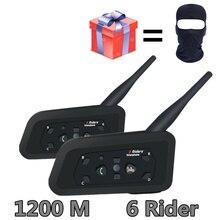 2 шт V6 мотоцикл гарнитуры Bluetooth Шлем Интерком для 6 гонщиков, BT беспроводное переговорное устройство переговорные MP3 гарнитура Bluetooth