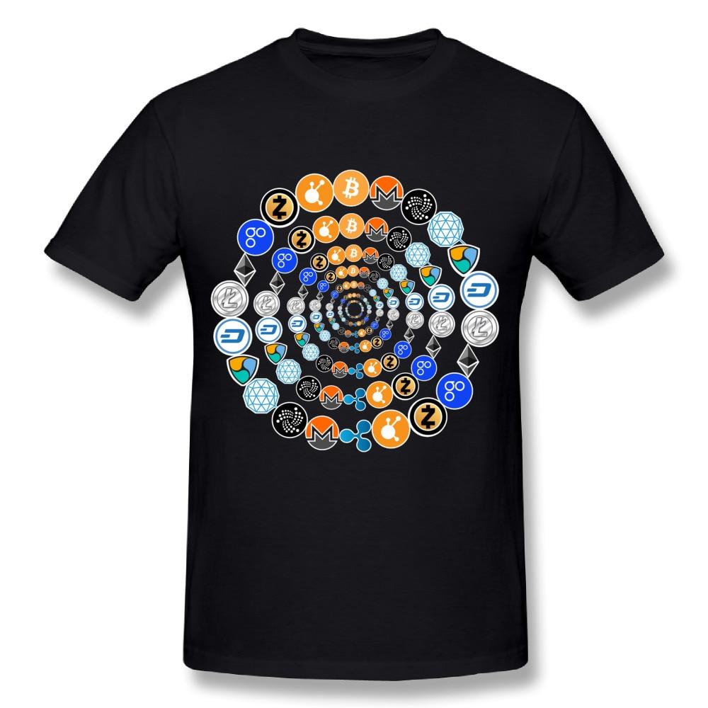 Bitcoin Ripple Ethereum Litecoin Round Collar Men Bitcoin T-Shirts Great Design T-Shirt