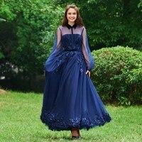 Dressv evening dress beading high neck a line long sleeves floor length appliques wedding party formal dress evening dresses