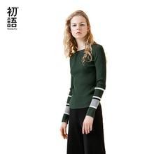 Toyouth вязаные свитера осень 2017 г. Женские полосатые Лоскутные О-образным вырезом Тощий пуловер с длинными рукавами свитер