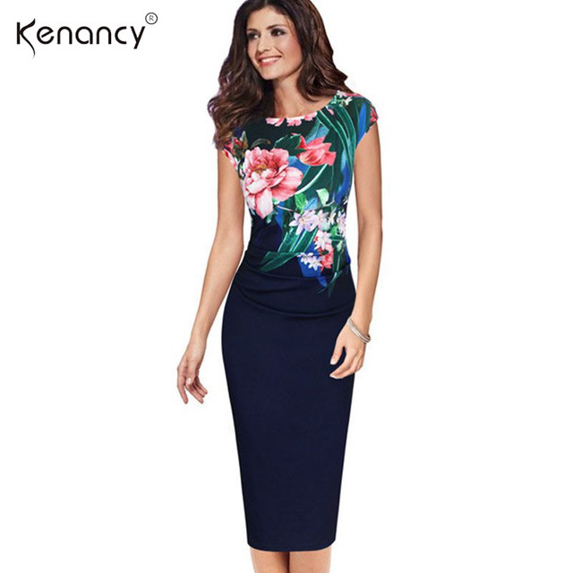 Kenancy S-5XL Elegante Frauen Plus größe Kleid Sommer Sleeveless Blumendruck Casual Partei Mantel Bodycon Kleid Amt Vestidos