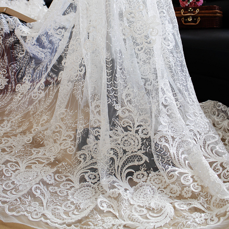 1yard sequin embroidered african lace flower fabric for French lace fabric for wedding dresses