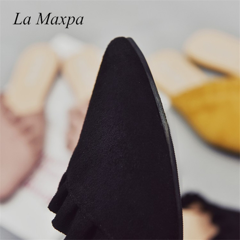 ca46e961e41309 La Maxpa Women Slippers Flat Women Shoes Slip On Flat Ladies Mules Fashion Ruffles  Ladies Shoes Fabric Platform Loafer Flip Flop - aliexpress.com - imall. ...