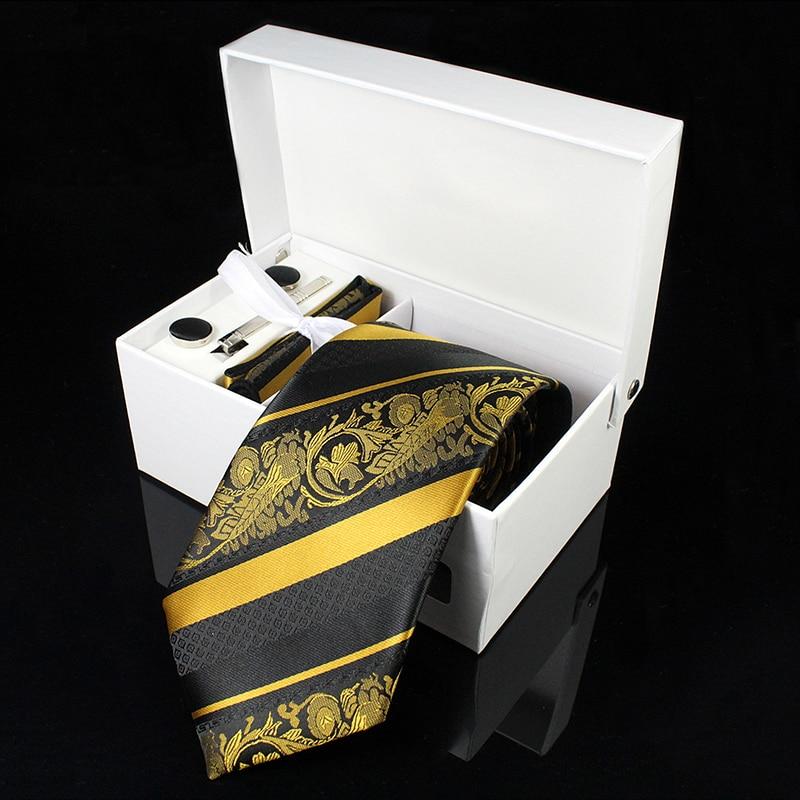 Kamberft gravata de seda masculina, gravatas de tecido jacquard, lenço e abotoaduras, caixa de presente, festa de casamento, luxo gravata