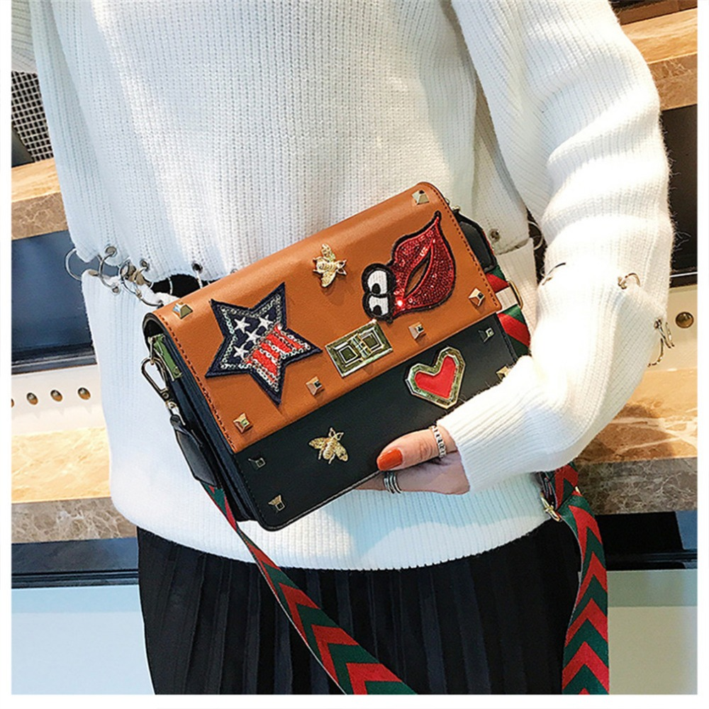 Womens Handbag Small Badge Women PU Leather Shoulder Bag Wide Strap Ladies Messenger Crossbody Bag For Girl ZX350401
