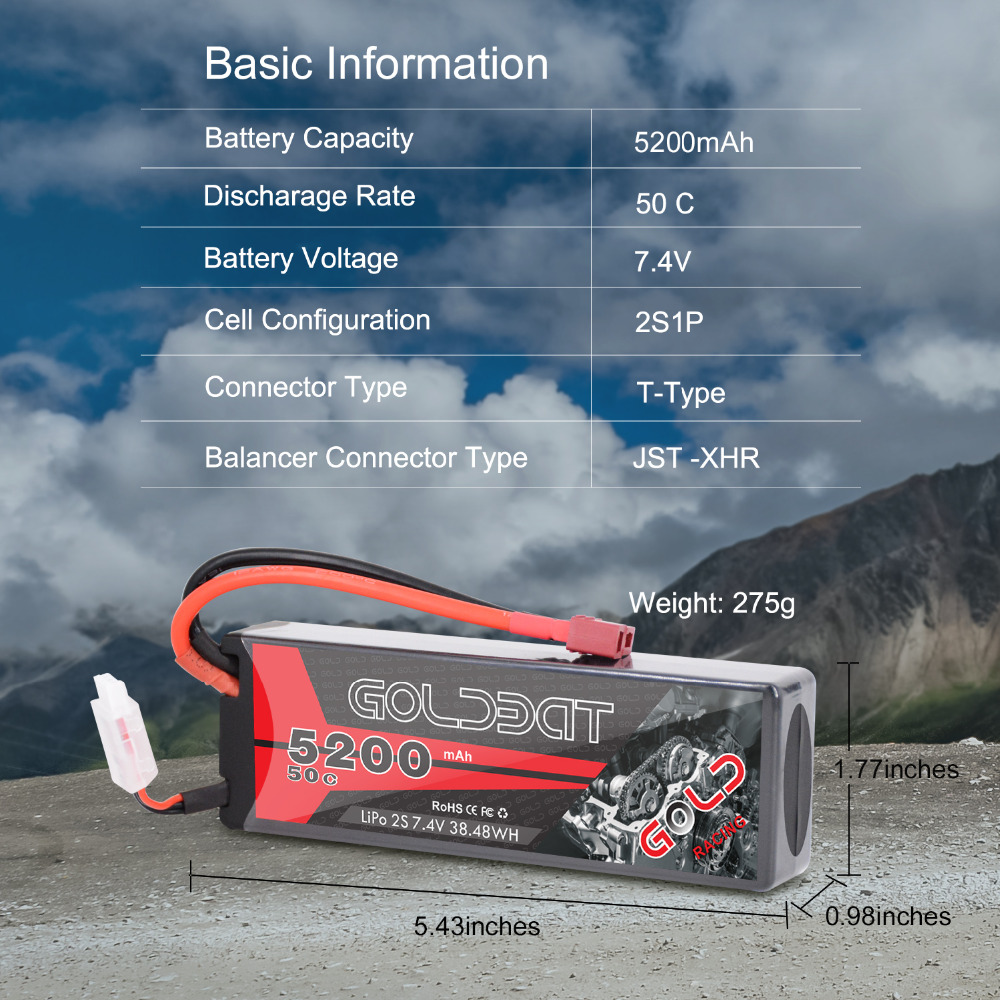 Image 4 - 2units GOLDBAT 5200mAh Lipo Battery 7.4V 50C 2S LiPo RC Battery with Deans Plug for RC Evader BX Car Truck Truggy Buggy Helicopt-in Parts & Accessories from Toys & Hobbies