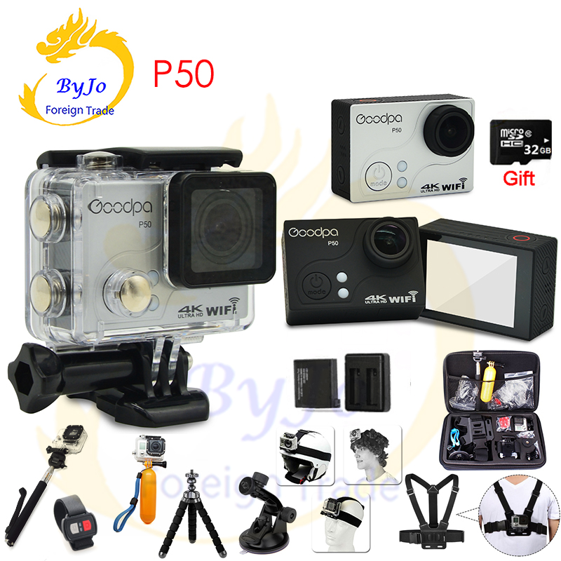 2017 new Goodpa P50 Ultra HD 4k 30fps 2.7k 30fps Sports Camera waterproof WIFI remote control limit motion DV 32G SD card gift цена